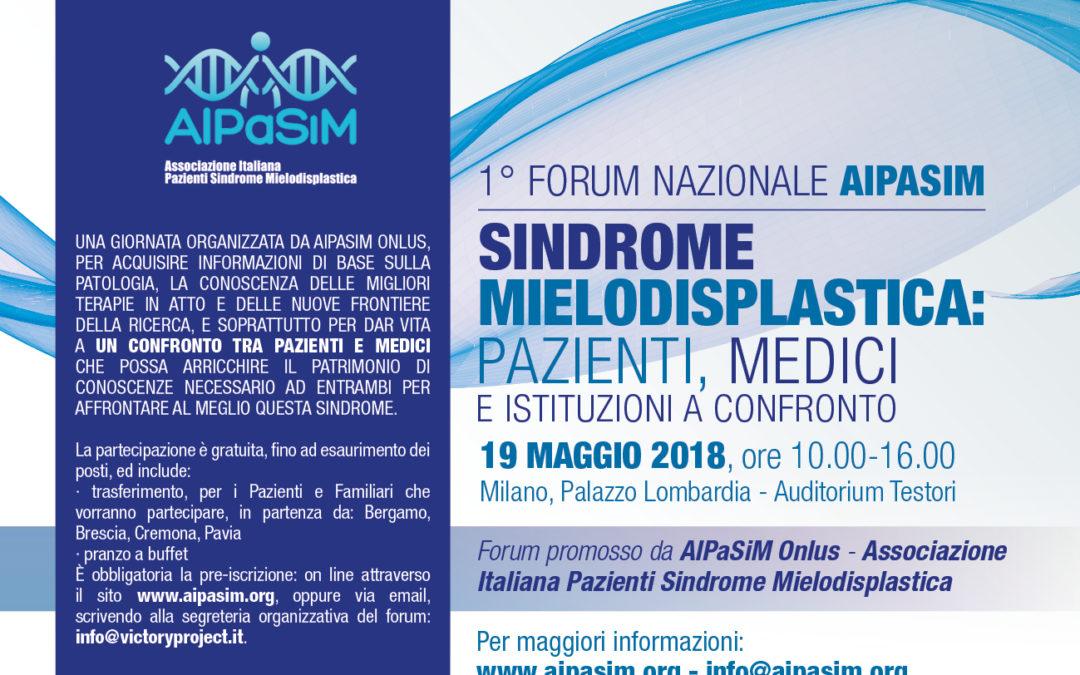 1° Forum AIPaSiM, Milano 19 maggio 2018