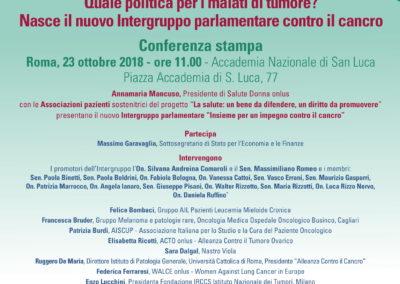 Nasce l'Intergruppo parlamentare per la tutela dei diritti dei pazienti con tumore.