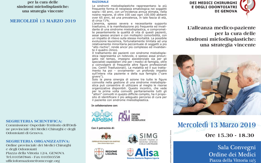 """Mielodisplasia: """"L'alleanza medico-paziente"""", Genova 13 marzo 2019"""