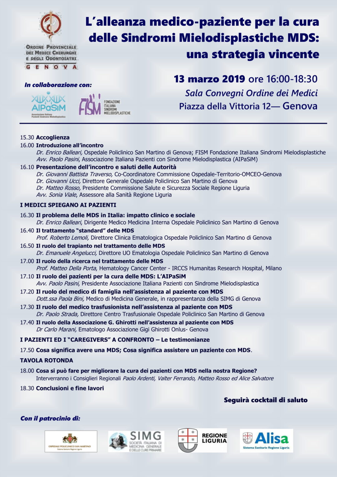 """Incontro """"L'alleanza medico-paziente per la cura MDS"""" – Genova, 13 marzo 2019"""